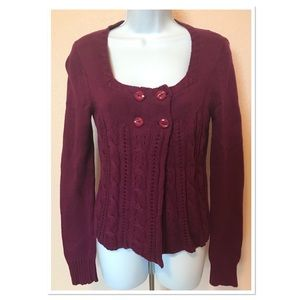 Fossil Berry Button Front Empire Waist Sweater Med
